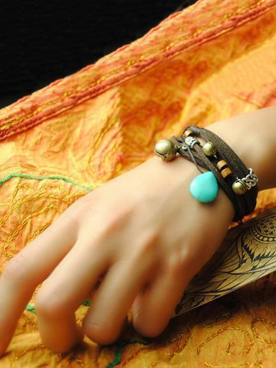 Handmade Turquoise Copper Beads Agate Bracelet Accessories