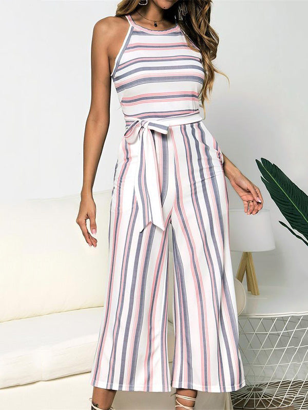 Printed Striped Sleeveless Jumpsuits