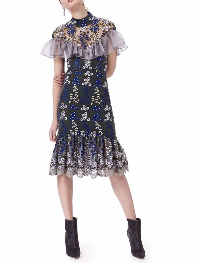Pretty Lace Embroidery Falbala Split-joint Midi Dress