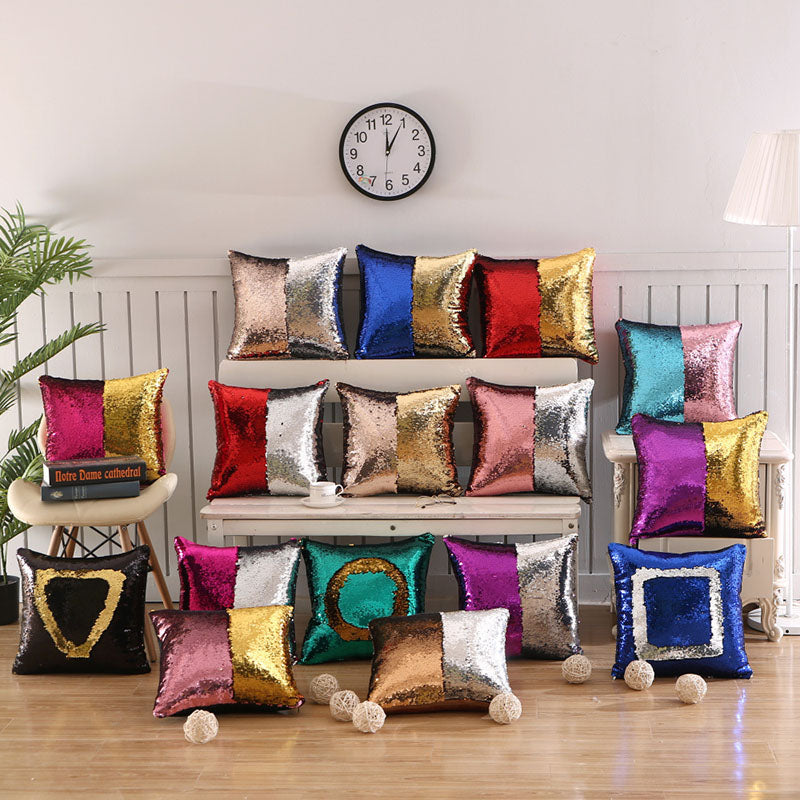 Sequined Color Contrast Square Pillow Case