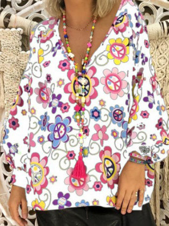 V-neck Printed Shirt with Bubble Sleeves