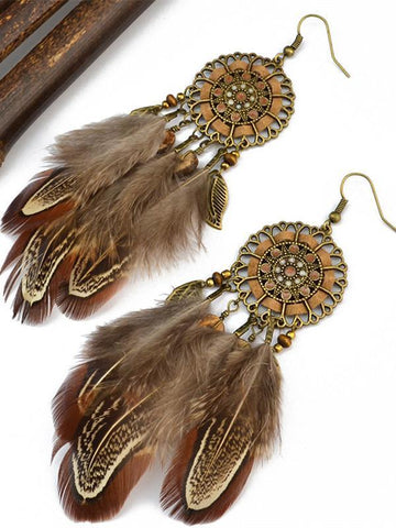 Retro Bohemia Tassels Carving Turquoise Earrings