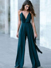 Green Spaghetti-neck Wide Leg Jumpsuits