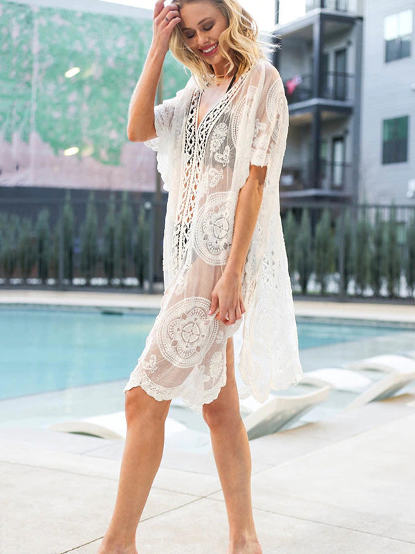 Lace Embroidered See-though Kaftan Cover-up