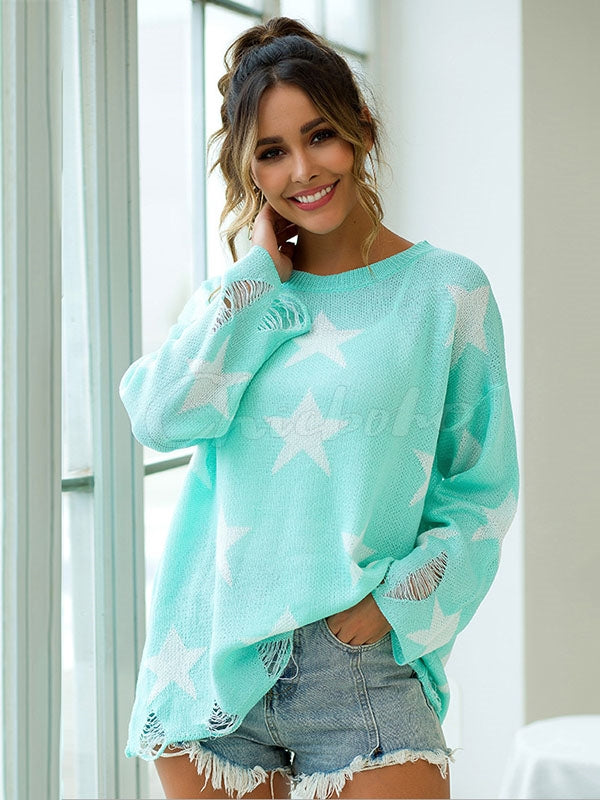Loose Star Printed Hollow Knitting Sweater