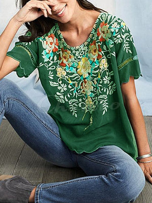 Embroidered Round-neck Blouses