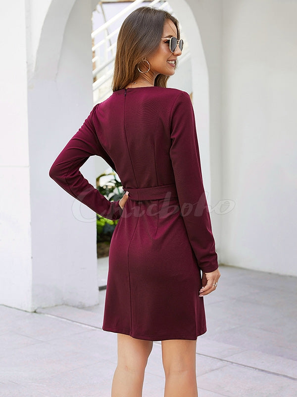 Plain Slim Waistband V-neck Dress