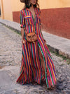 Solid Color Belted Long Sleeves Maxi Dress