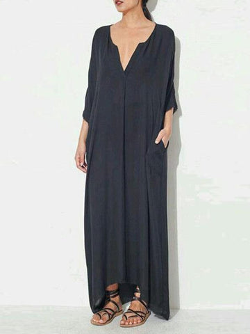 Rubber Band Split-joint Sleeveless Maxi Dress