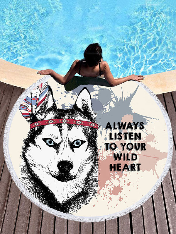 Wolf Head Printed Beach Mats