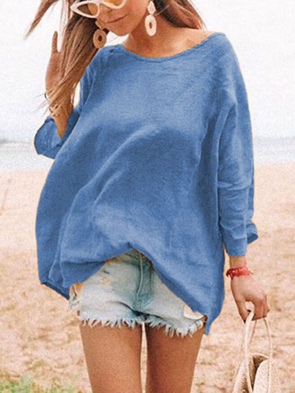 Loose Solid Color Round-neck T-shirt