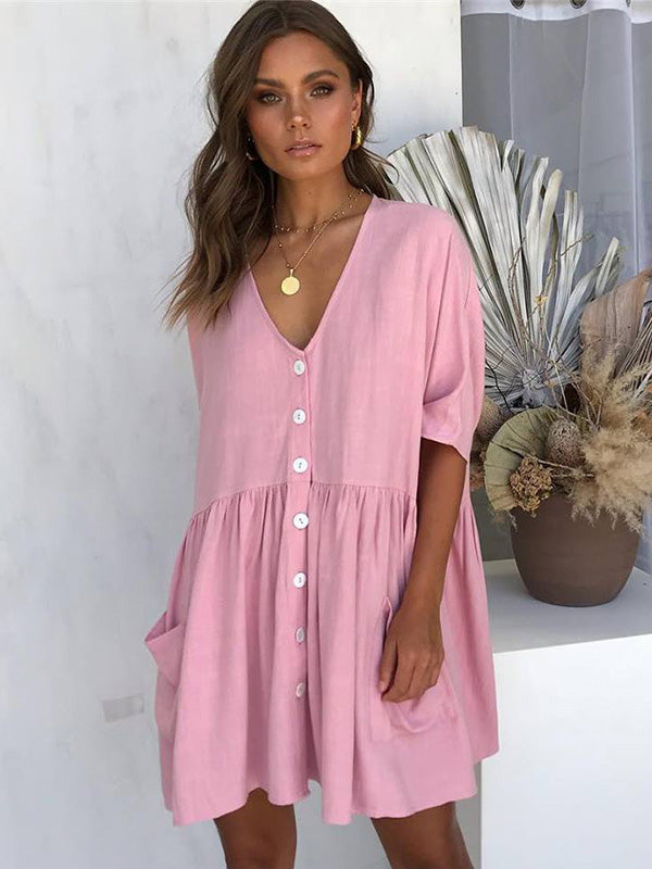 V-neck Solid Ruffled Loose Mini Dresses