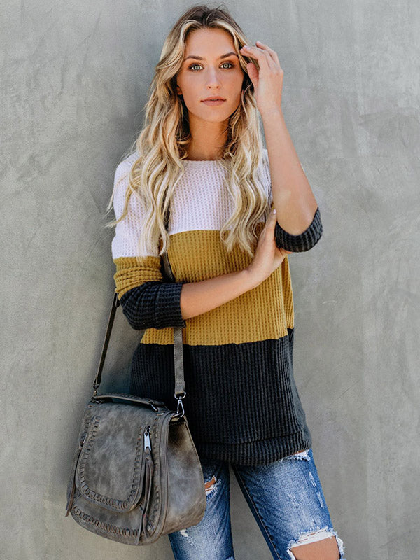 Hollow Knitting Color Block Sweater Tops