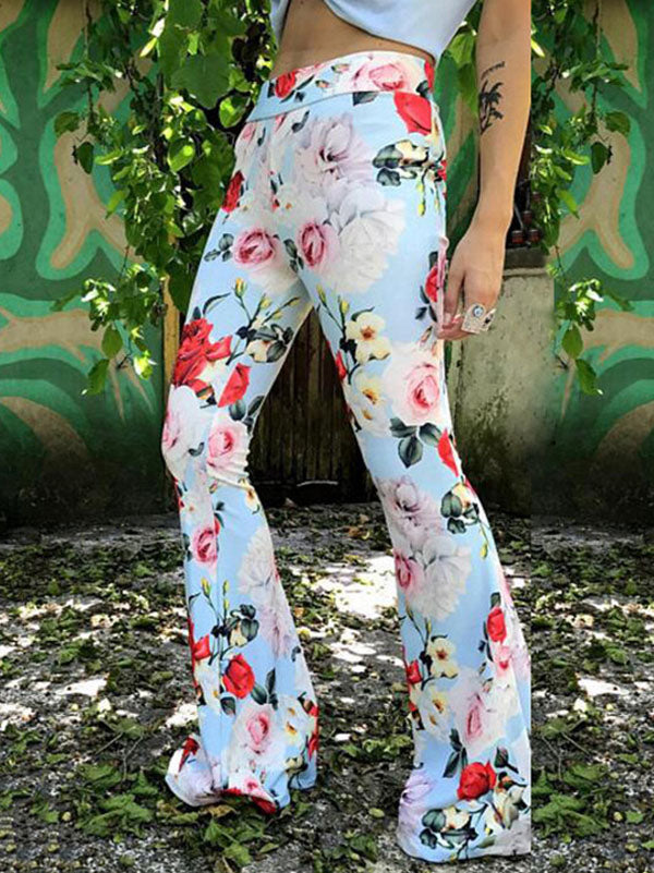 Printed Bell-bottoms Casual Pants