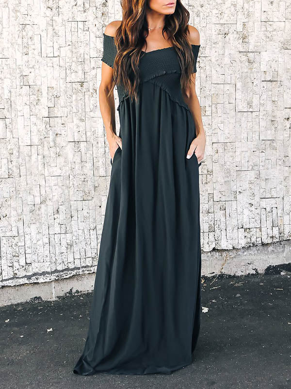 Solid Split-joint Cross Collar Maxi Dresses