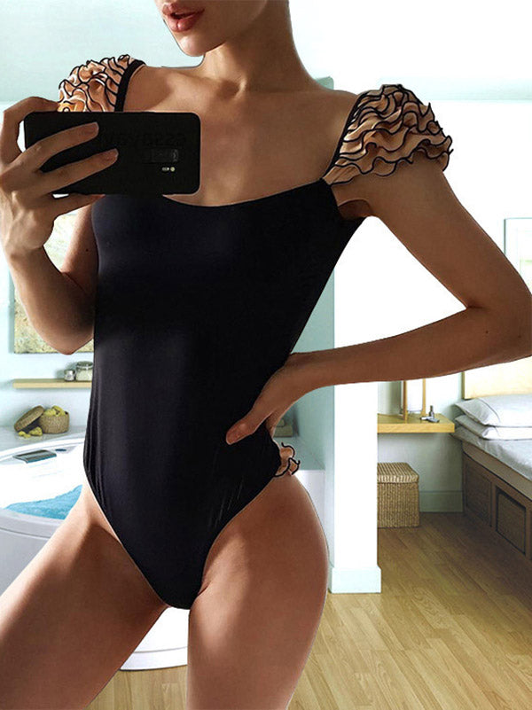 Ruffled Plain One-piece Swimsuit