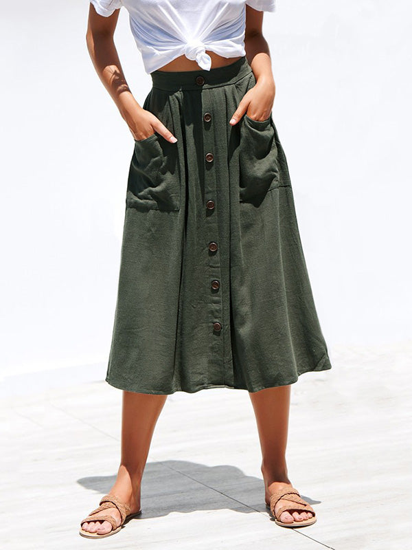 Solid Loose Bohemia Fashion Skirt Bottom