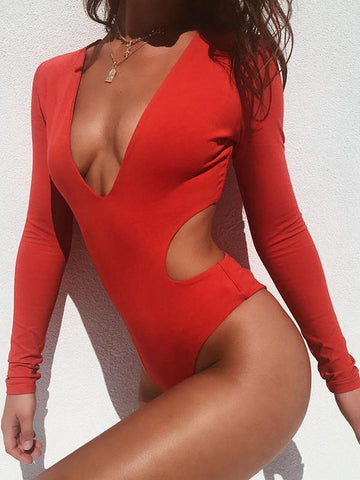 Plain Red Falbala Top One-piece Swimwear