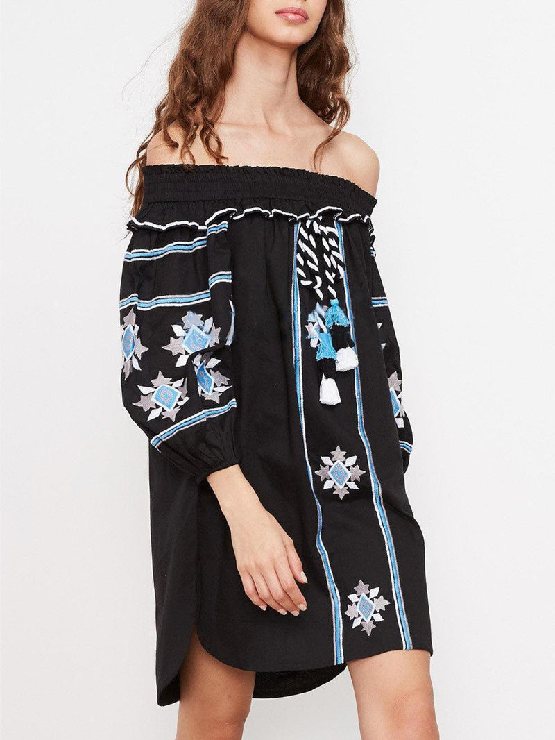 Pretty Embroidery Off-the shoulder Tassels Mini Dress