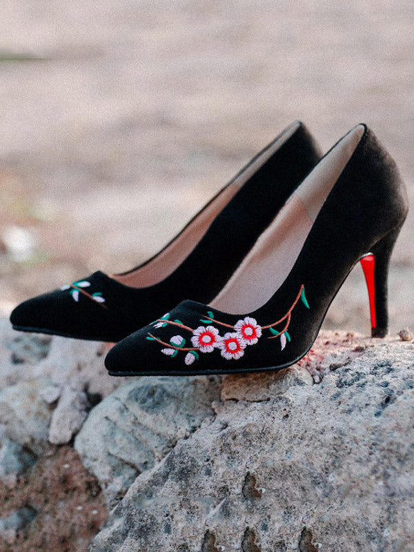 Pretty Embroidered Floral High Heels