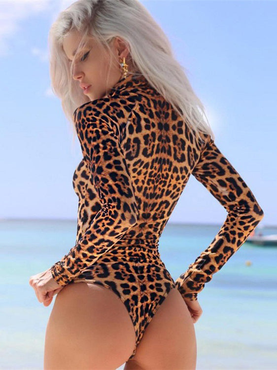Sexy Leopard Zipper One-piece Swimming Suit