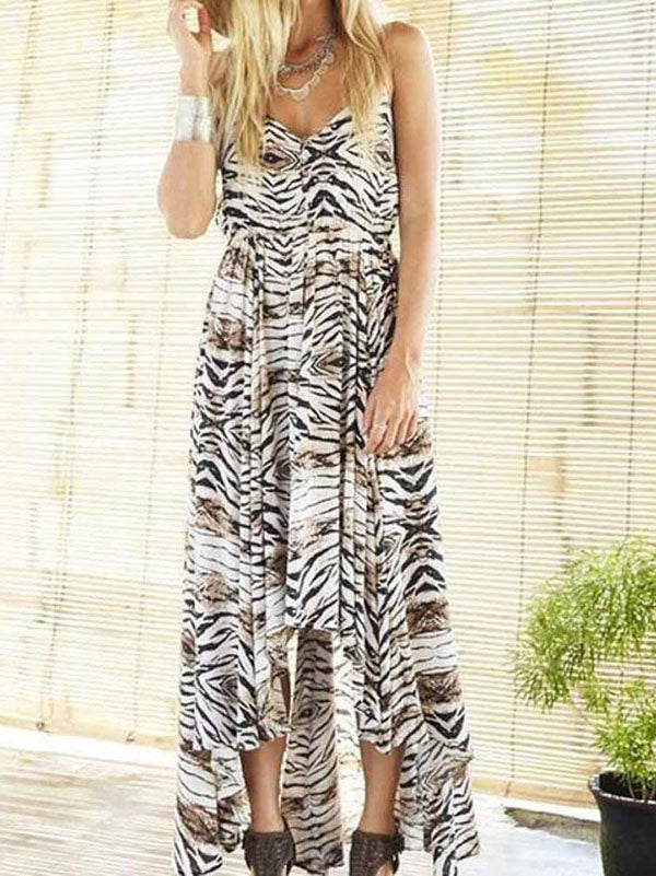Spaghetti-neck V-neck Leopard Print Maxi Dress
