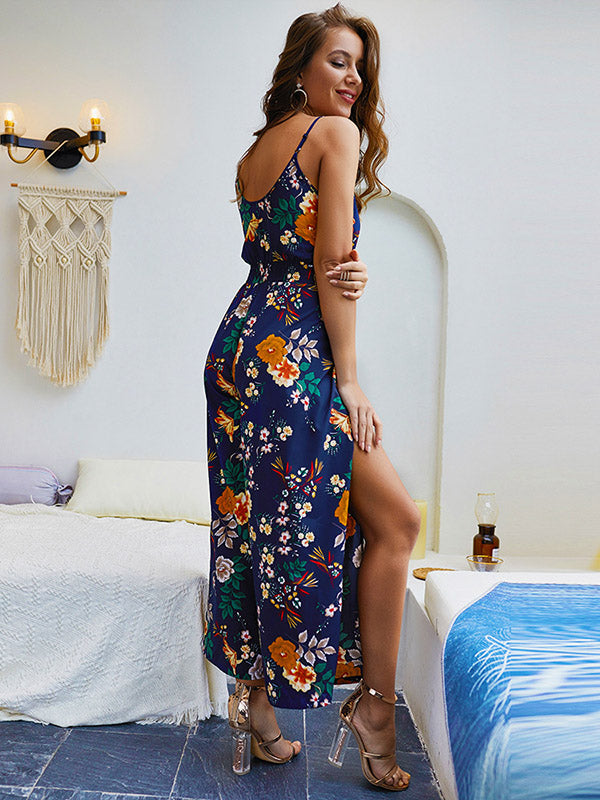 Printed Split-side Spaghetti-neck Jumpsuits