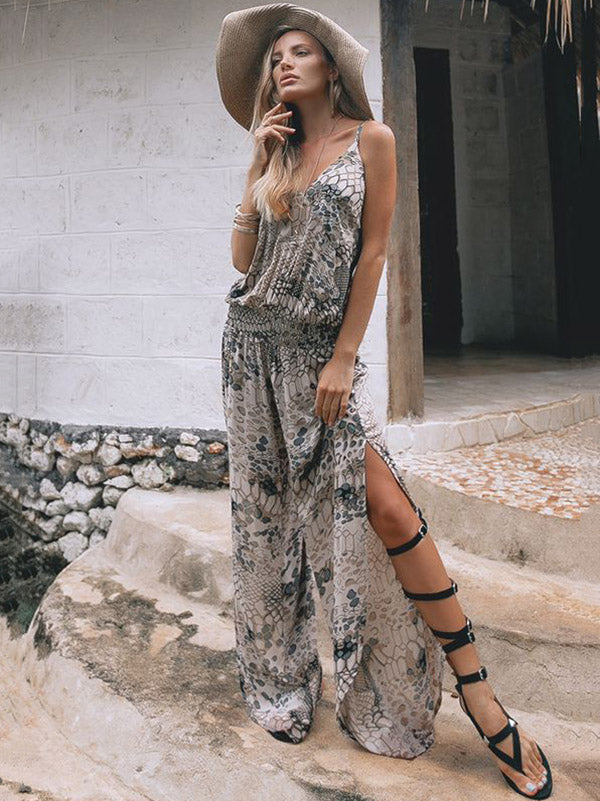Spaghetti-neck Split-side Waisted Jumpsuits