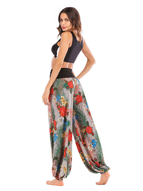 Floral Printed Wide Leg Casual Pants