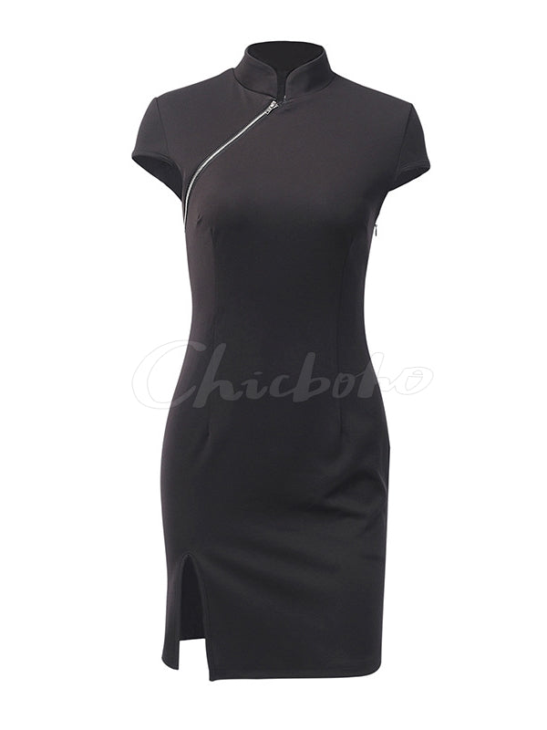 Vintage Split-side Diagonal Zipper Punk Dress