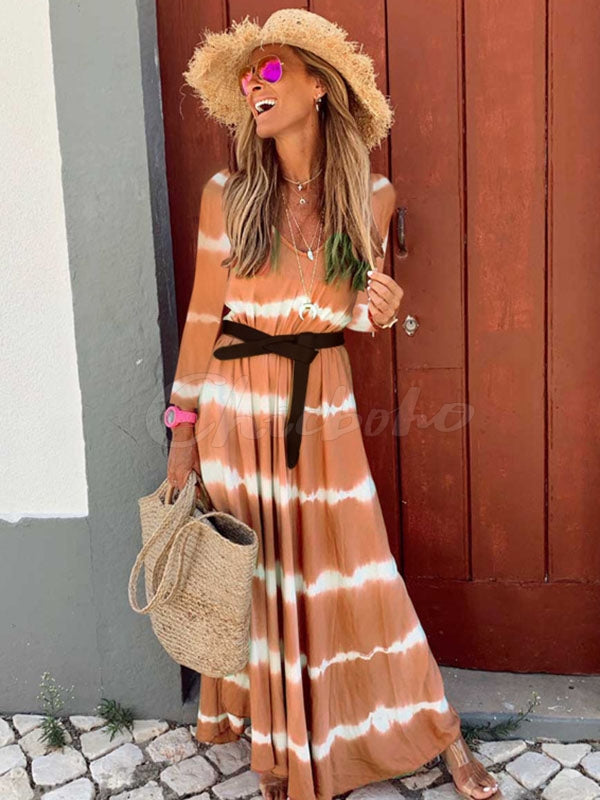 Printed V-neck Long Sleeve Maxi Dress