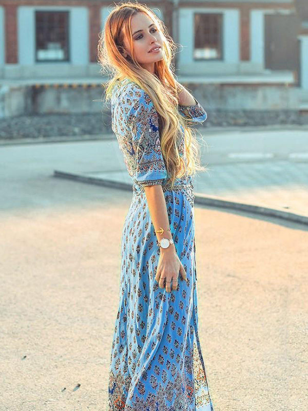 Beautiful Bohemia Floral V Neck Half Sleeve Front Split Maxi Dress