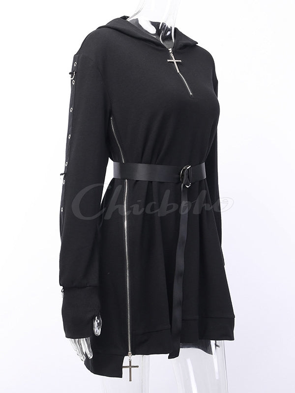 Heavy Work Zipper Split Waist Belted Hoodie