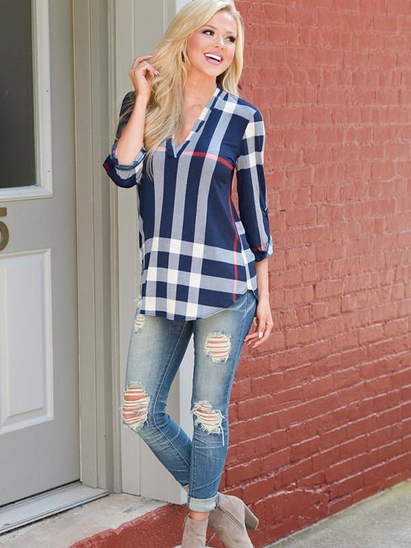 Popular Fashion Gingham V Neck 3/4 Sleeve Loose T-Shirt Tops