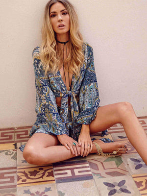Floral-Print Long Sleeve V Neck Lace-Up Bohemia Short Jumpsuits