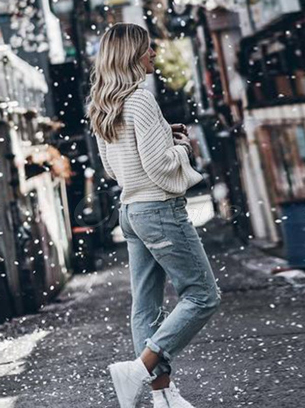 Plain Loose Hollow Round-neck Sweater