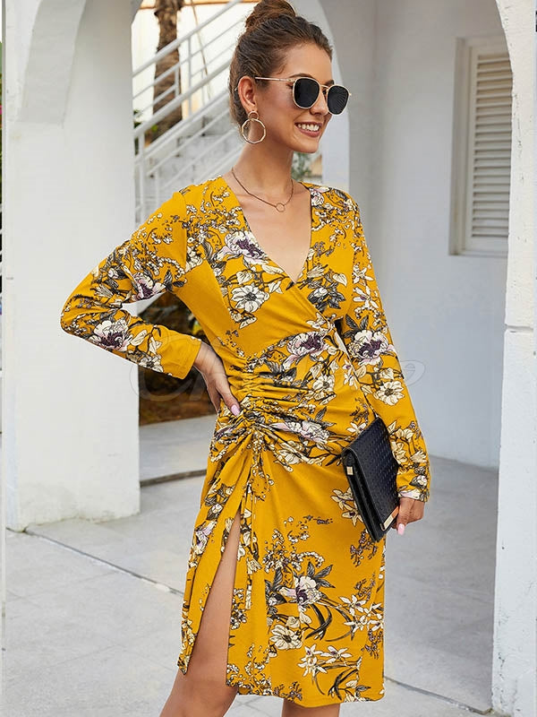 Printed Elastic Waist V-neck Dress