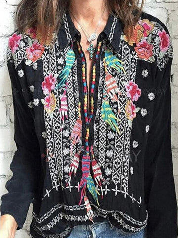 Lace Pannel Long Sleeves Blouses&shirts Tops