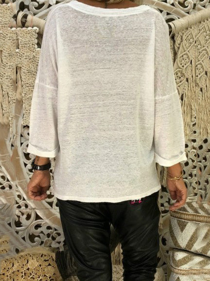 Loose V-neck Long Sleeve T-Shirt