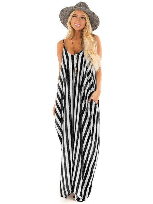 Sexy Spaghetti-neck Stripes Maxi Dresses