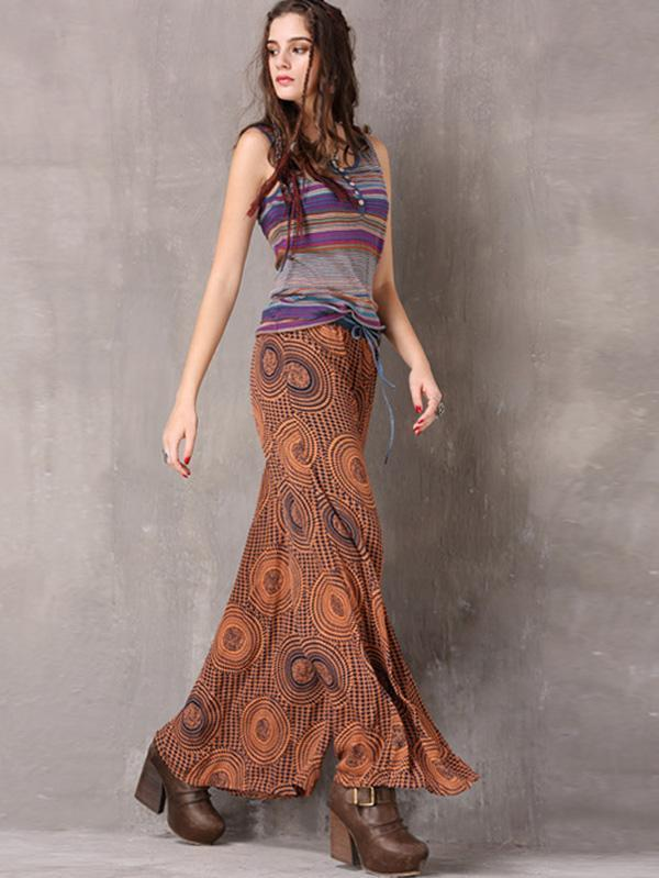 Printed Chiffon Wide Leg Casual Pants
