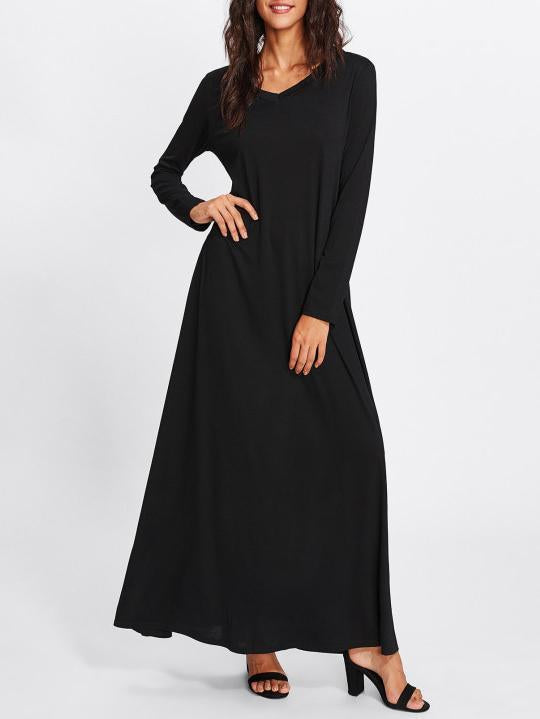 Simple Black Long Sleeves Maxi Dress