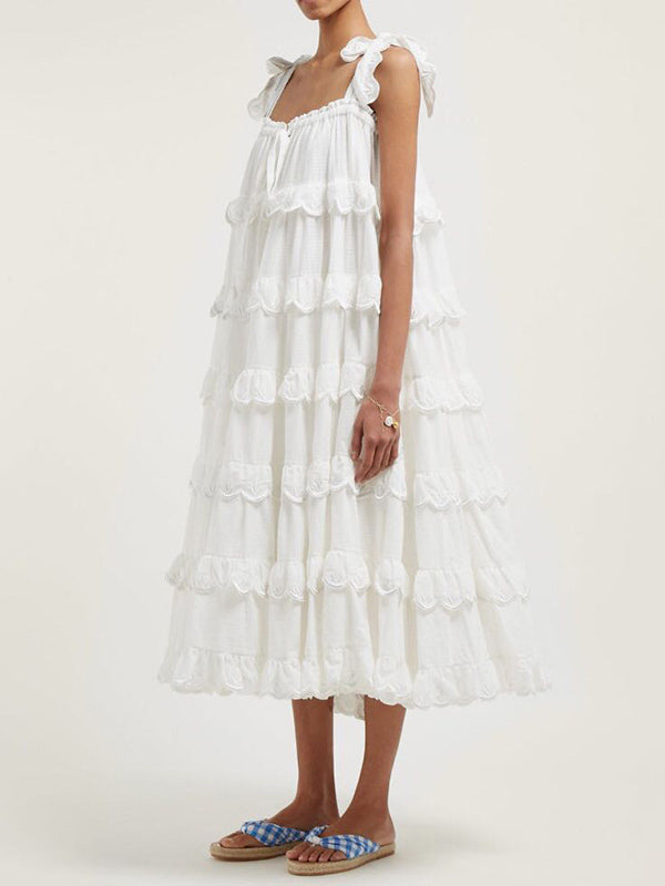 Falbala Sling Cake Tiered Midi Dress
