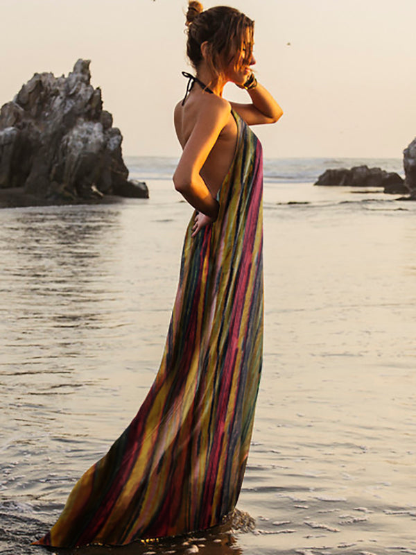 Colorful Striped Backless Halter-neck Maxi Dress