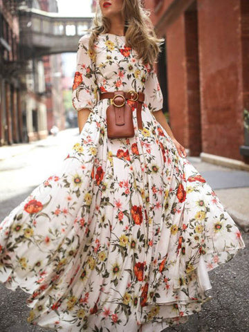 Pretty Bohemia Floral V Neck Maxi Dress