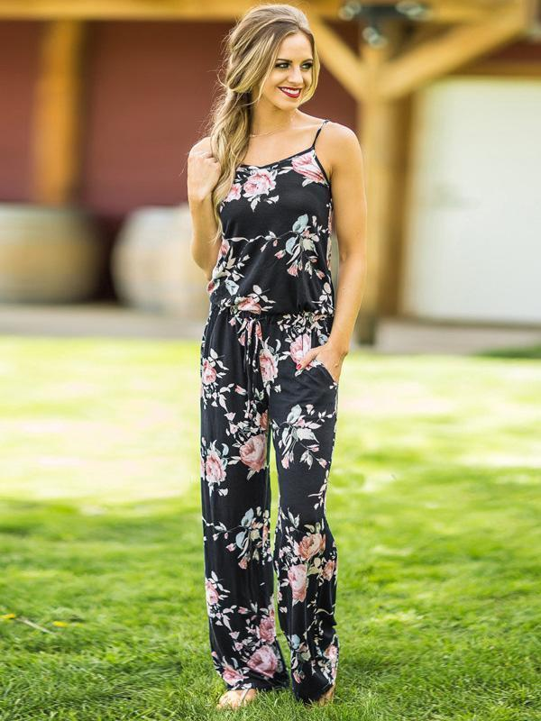 Pretty Floral Spaghetti-neck Wide Leg Long Jumpsuits