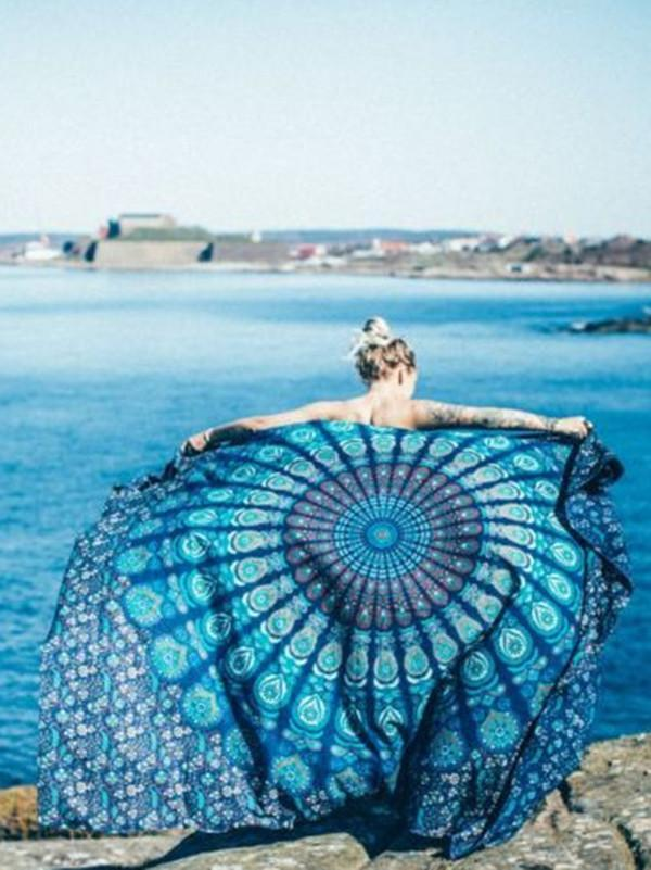 Beautiful Summer Bohemia Rectangle Shawl Beach Mat Yoga Mat