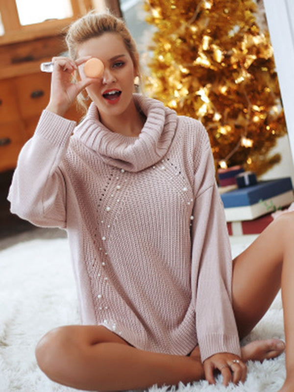 High-neck Long Sleeves Loose Knitting Sweater Tops