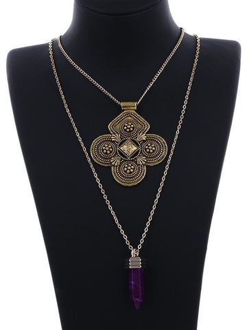 Vintage Hollow Flower Disc Multilayer Necklaces Accessories