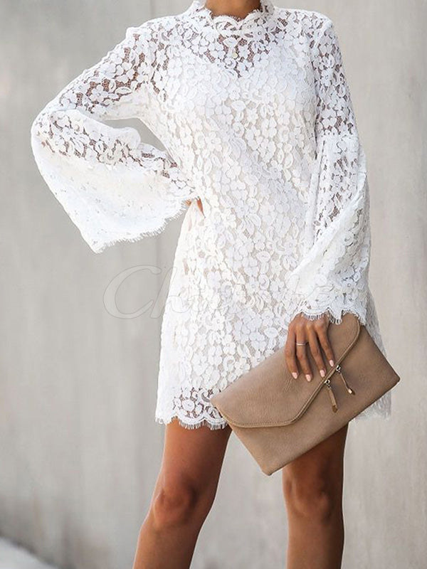 Lace Split-joint Hollow Tank&Mini Dress